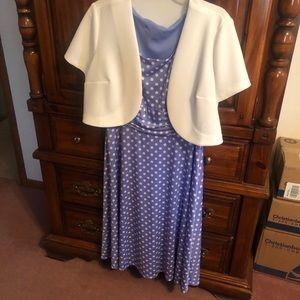 Blue polka dot dress with white jacket dress